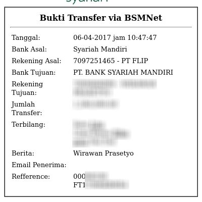 Flip - Bukti transfer BSM