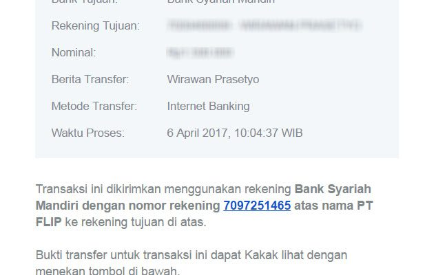 Flip - Bukti transfer di email penerima